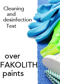 Resistance Test to cleaning and disinfection Fakolith paints,