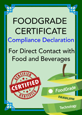 Food Grade Contact Declaration of compliance for Disperlith Foodgrade Elastic,