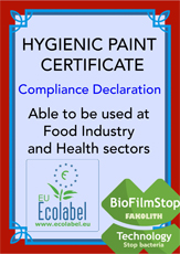 Disperlith Hygienic declaration of compliance and European Ecolabel Certificate,